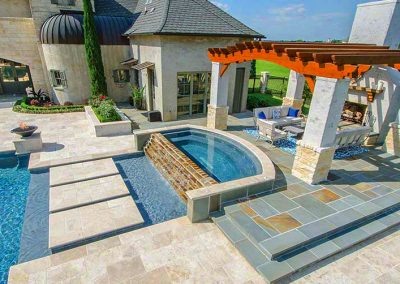 Ivory travertine non slip pool tiles and coping