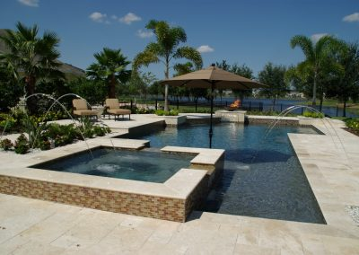 Travertine pool tiles and paving