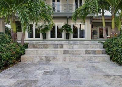 Silver Travertine Outdoor Tiles Non Slip French Pattern