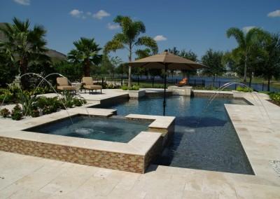 Travertine pool tiles and paving