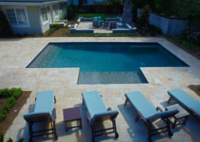 Tumbled travertine pavers and pool coping in Denizli Colourful tiles