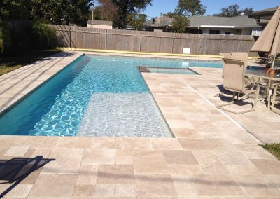classic travertine french pattern pool tiles and pool coping